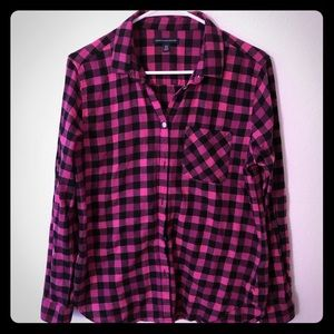 American Eagle Checker Print Flannel Button Down